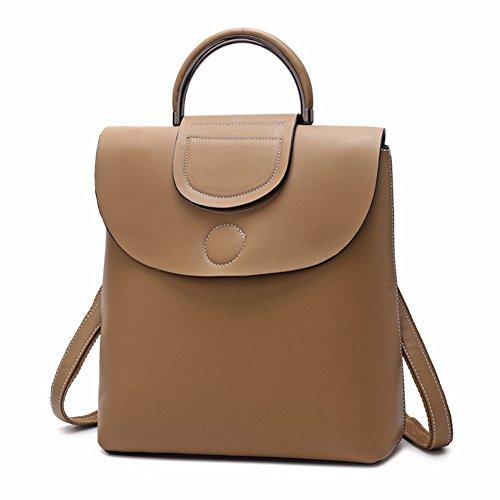HopeEye mujer Tendencias de la moda Cuero Mochila Bolsa de mano Bolso de Crossbody Cuero Elegante (Light Tan) 3-tan Ligero