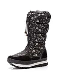 AARDIMI Womens Winter Snow Boots Warm Fur Lining Waterproof Shoes Outdoor Windproof Mid Slip on Flat Zip Knee-High Booties