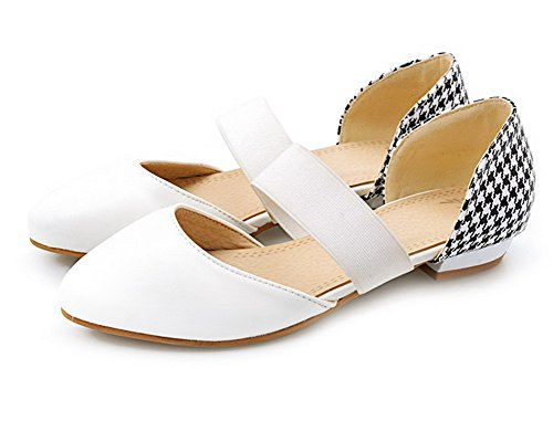 VogueZone009 Women Solid Pu Low-Heels Pull-On Closed-Toe Sandals White