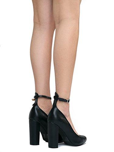 Ankle Pump Emery Trendy Strap Classic Black High Pu Buckle Adams Heel J Shoe Block Party 5x0xp