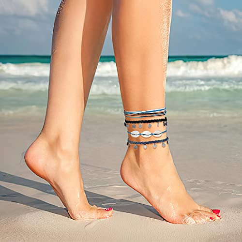 ISWAKI 4 Pcs Ankle Bracelets Braided Shell Feet Rope Coin Adjustable String Boho Bohemia Anklets Foot Cord Beach Jewelry for Women Girls(Black)