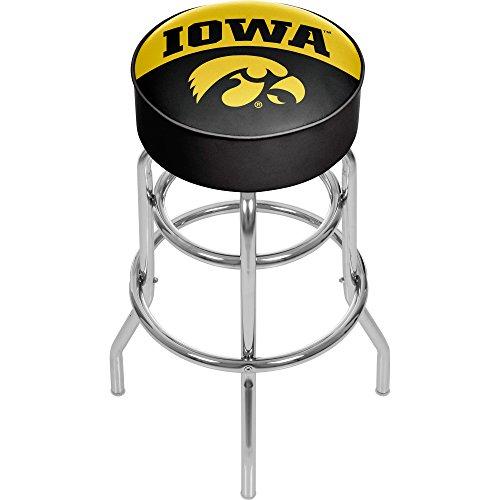 Trademark Gameroom University of Iowa Chrome Bar Stool with Swivel - Logo