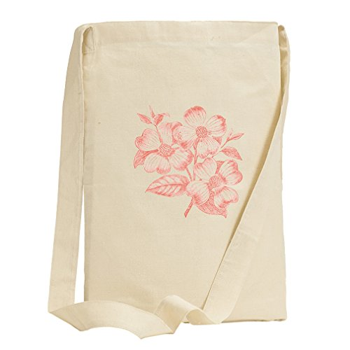 Dogwood Flowers Pink Vintage Look Canvas Sling Tote - Shopping Center Dogwood