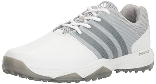 adidas Men's 360 Traxion Golf Shoe, White/Silver Metallic, 13 M US