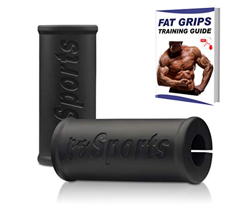 PZ SPORTS Fat Grips Bar Grips- Thick Bar Grips 2 Fat Bar Training Thick Bar Adapter for Dumbbell Barbell for Arm Muscle Growth - Weight Lifting Powerlifting