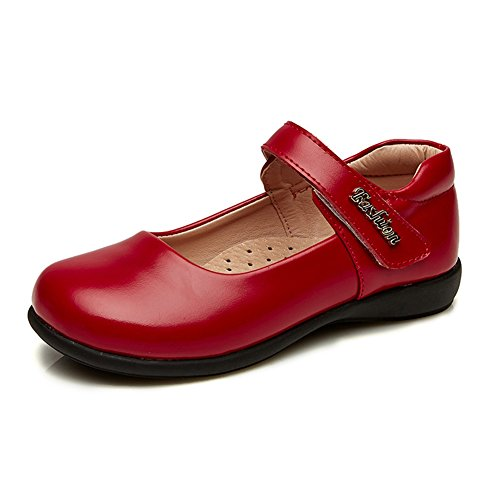Maxu Leather Mary Jane Flat Girl Casual Shoes Red,Big Kid Size 3.5