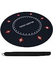 Rund gummi pokerbordsmatta, anti-slip professionell texas hold'em tabellmatta bärbar gummitrunda bordsskiva pokermatta med vikbar väska