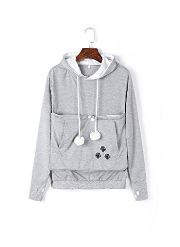 - Kei Tomlison Unisex Big Kangaroo Pouch Hoodie Long Sleeve Pet Dog Holder Carrier Sweatshirt,Grey,X-Large