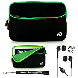 """Green w/ Black Slim Design Soft Neoprene Carrying Cover Case with extra pocket for Pandigital Novel 7"""" Color Multimedia White eReader + Indlues a 4-Inch Determination Hand Strap + Includes a Crystal Clear HD Noise Filter Handsfree with Mic and Mute Button"""