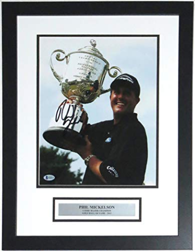 - Phil Mickelson Signed PGA Championship 11x14 Photo - Beckett Authentication Services BAS COA Authenticated - Professionally Framed & Major Championships Plate