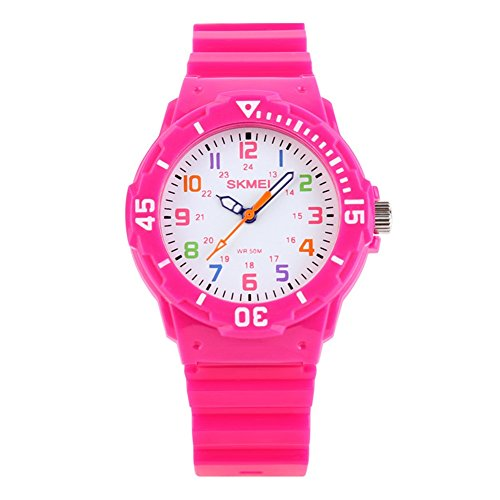 Jewtme Cute Kids Children Watch Colorful dial Outdoor Sport Quartz Watch for Boys Girls Students-Pink