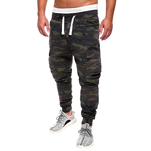 Men's Camo Cargo Pants|Men Relaxed Fit Straight Leg Multi Pocket Ankle Length Trousers | Casual Drawstring Jogger Sweatpants
