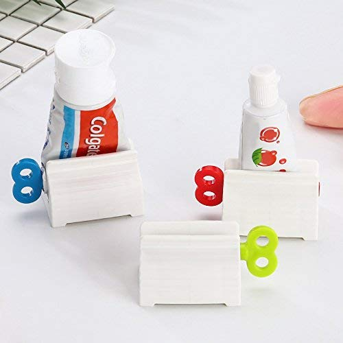 6 Pieces Toothpaste Tube Squeezer,Rolling Tube Toothpaste Cream Squeezers Manual Rotate Toothpaste Accessories Tool Seat Holder Stand for Kids Washroom Dogs