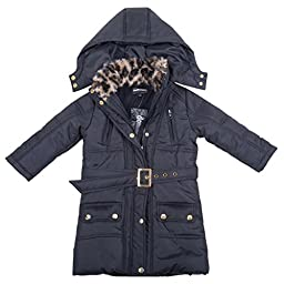 [397552DH-TypicalBlack-2T] Girl\'s Puffer Jacket: Hood with Faux Fur Trim Coat