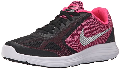 NIKE Girls' Revolution 3 Running Shoe (GS), Black/Metallic Silver/Hyper Pink/White, 4 M US Big Kid by NIKE