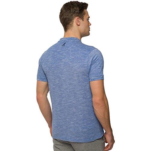 Para hombre Kangol Polo de rayas Top Camiseta de camiseta de manga corta cuello Casual Wear Azul