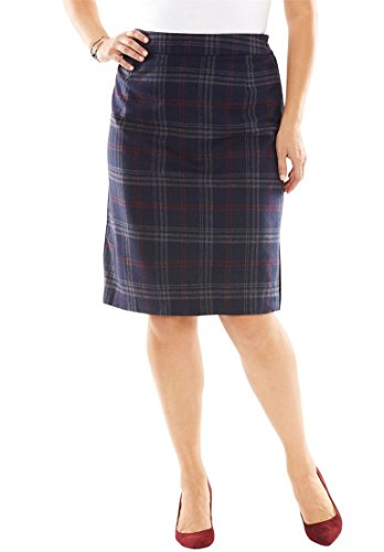 Jessica London Women's Plus Size Wool Pencil Skirt Navy (Navy Wool Skirt)
