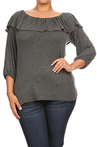 Women's Off Shoulder Ruffle Detail PLUS SIZE Solid Top. MADE IN USA (2X, GRAY)