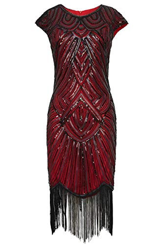 BABEYOND Women's Flapper Dresses 1920s Beaded Fringed Great Gatsby Dress -