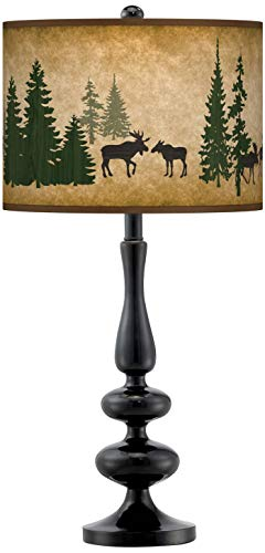 Moose Lodge Giclee Paley Black Table Lamp - Giclee Gallery