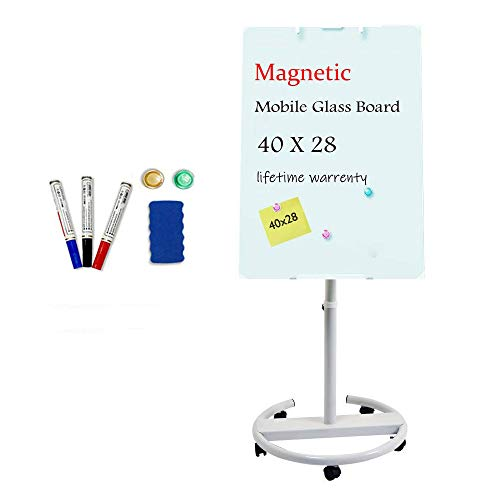 Glass Whiteboard - Magnetic Glass Dry Erase Board 40x28 Inches Mobile Glass Board, Height Adjustable Easel Board Flipchart Easel Glass Board with Marker Tray (Glass Board)