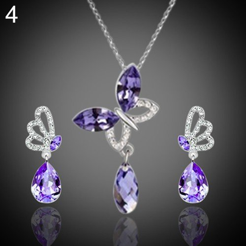 Type 4 Women Cocktail Crystal Butterfly Cubic Zirconia Necklace Stud Earrings Jewelry ()