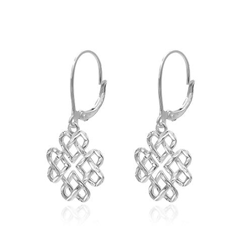 (Sterling Silver Diamond-Cut Filigree Heart Love Knot Leverback Dangle Drop Earrings)
