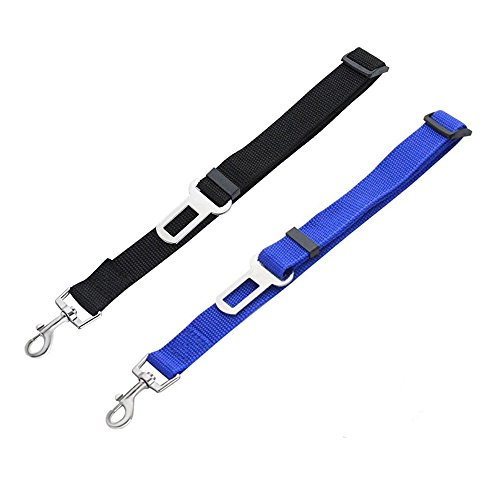 Hosyl Dog Seat Belt, Dog Harness Pet Car Vehicle Seatbelt, Pet Safety Leash Leads for Dogs/Cats, Nylon Fabric Material 2 Piece (Black+Dark blue) Review