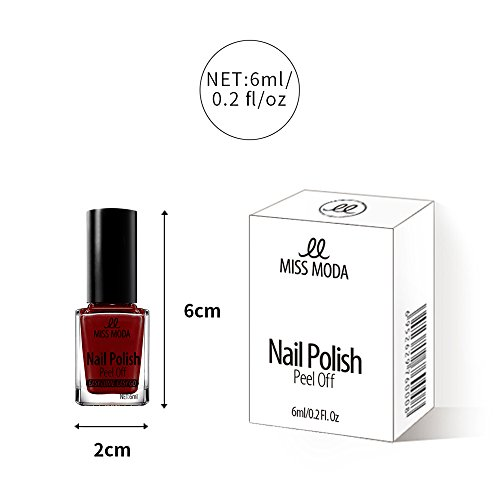 Water Based Nail Polish, 90s Quick Dry Easy Peel off 4PCS Chemical Free Nail Polish, 6ml 0.2 fl/oz by MissModa (Image #5)