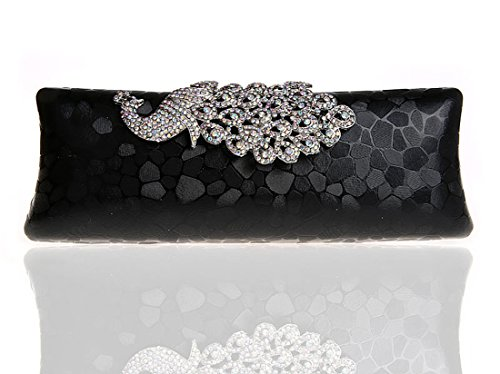 Whoinshop da donna, con brillantini, motivo: pavone, Evening Clutch Bag Nero (nero)