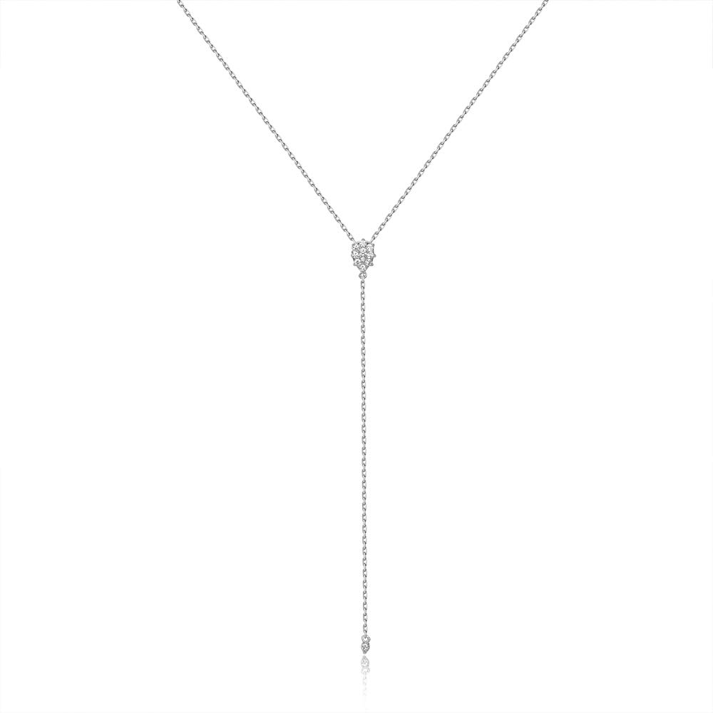 espere Dainty Sterling Silver Necklace Small Waterdrop Lariat Necklace Y-Shaped Platinum Plating by espere