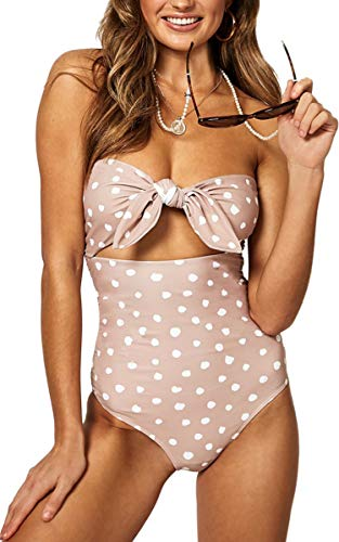 CinShein Women's High Waisted Bikini Strapless Dot Bow Knot Front One Piece Swimsuit 9059 Beige S ()