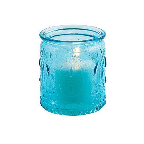 Fun Express - Blue Vintage Glass Votives (dz) for Wedding - Home Decor - Candles and Candle Accessories - Candle Holders & Accessories - Wedding - 12 Pieces - Oriental Glass Candle Holder