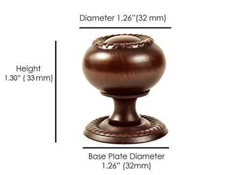 Hardware Direct ST3693 Round Rope Kitchen Bathroom Cabinet Furniture Door Drawer Knob Pull Handle w Backplate Brushed Nickel Silver, Brushed Oil Rubbed Bronze Brown (Single, Brushed Oil Rubbed Bronze) (Backplate Silver)