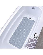 SlipX Solutions Extra Long Vinyl Bath Mat (Gray, 99cm X 40cm)