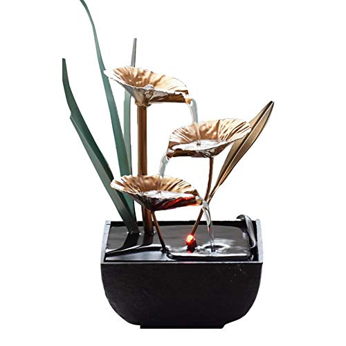 Tabletop Fountain, Zen Water Fountain Three Tier Indoor Water Lily Water Fountain Relaxation Fountain Desk Water Fountain (Water Lily)