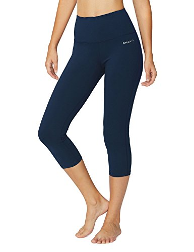 Baleaf Women's High Waist Yoga Capri Leggings Tummy Control Non See-through Fabric Denim Blue Size XL