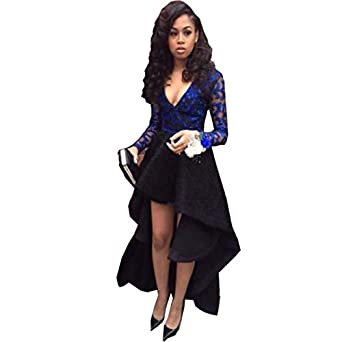 Chady High Low Prom Dresses Royal Blue V-Neck Long Sleeve asymmetrical Appliques Sequin Party Dress Long Black Prom Dresses