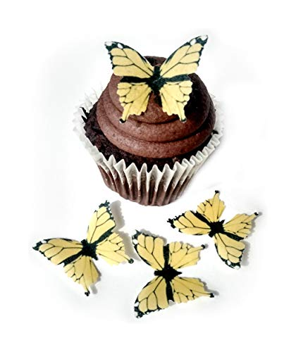 (Yellow Monarch Wafer Paper Butterflies 1.75 Inch for Decorating Desserts Wedding Cakes Cupcakes Pack of 24)