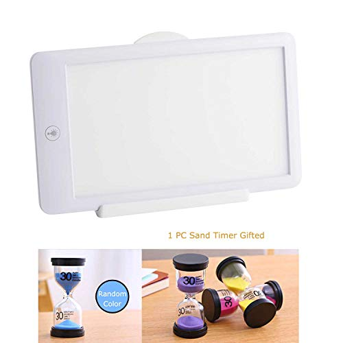 Happy Energy Light Therapy Lamp Super Bright 10000 Lux One Touch Dimmable Light Box with Glass Sand Timer