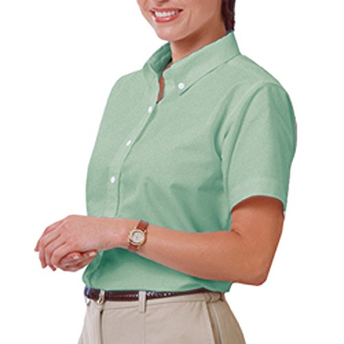 Blue Generation BG6214S - Ladies' Short Sleeve Oxford with Stain Release (Small, Green)