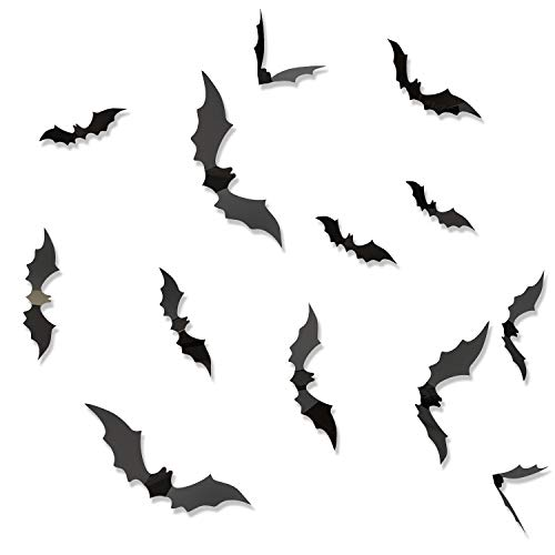 Besteek 120 Pack Halloween Decorations Bat Decals Plastic 3D Wall Bats Stickers for Home Window Decor Party Supplies (Black)