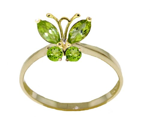 14k Solid Gold Peridot Butterfly Ring - Size 7.0 (Butterfly Vs2 Ring)