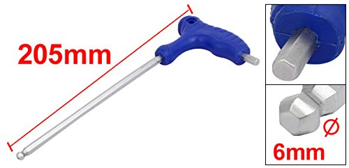 uxcell/® 6mm Tip Width T-Handle Ball End Hexagon Hex Key Wrench Blue 145mm Length