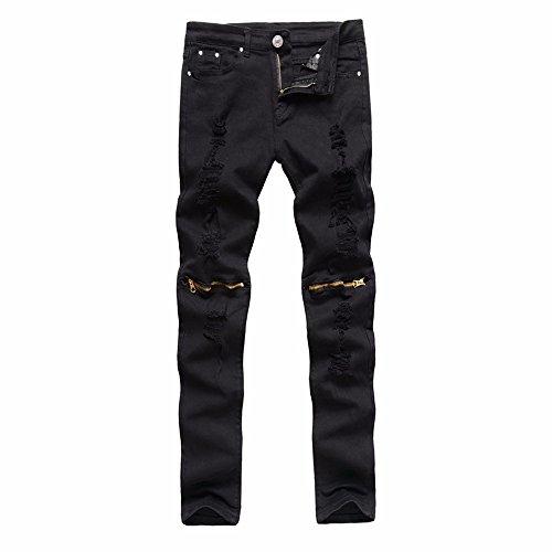 Cebbay Pantalones Vaqueros de los Hombres Cremallera Delgada de Manga Corta elástica Pantalones de Ciclismo Negro