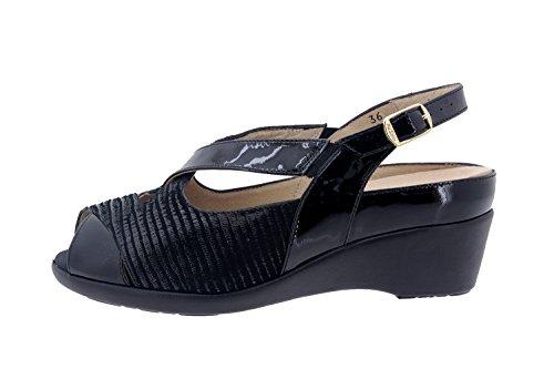 Calzado mujer confort de piel Piesanto 6154 sandalia plantilla extraible zapato cómodo ancho Charol Negro