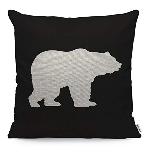 WONDERTIFY Throw Pillow Case Cover White Bear Walking on The Black Background - Soft Linen Pillow Case for Decorative Bedroom/Livingroom/Sofa/Farm House - Cushion Covers Couch Pillow 18x18 Inch (Black Throws Bear)