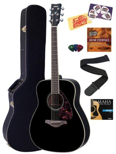buy yamaha fg720s black folk acoustic guitar bundle with hard case instructional dvd picks. Black Bedroom Furniture Sets. Home Design Ideas