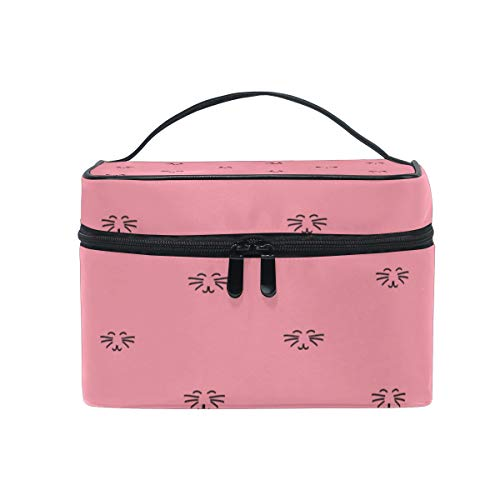 Makeup Bag Smile Cat Face Pink Cosmetic Case Portable Carry Travel Toiletry Bag Toiletry Bags for Womens Storage Bag