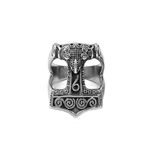 BAVAHA Tribal Symbol Myth Thor Hammer Ring Stainless Steel Jewelry Celtic Knot Ring Norse Viking Motor Biker Men Ring(11,Style 3)